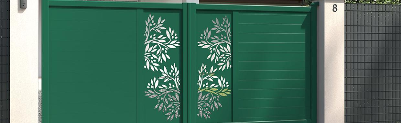 portail battant vert mousse en aluminium