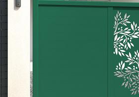 portail battant brun sépia en aluminium