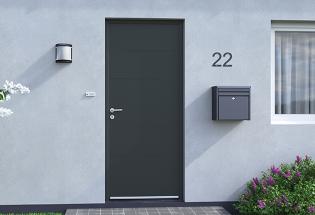 Porte d'entrée en aluminium gris anthracite L1050xH2200 ATTENTIVE