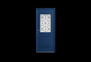 Porte d'entrée en acier bleu saphir L900xH2150 ELEGANTE
