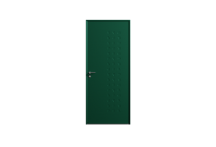 Porte d'entrée en acier vert mousse L900xH2150 APPLIQUEE