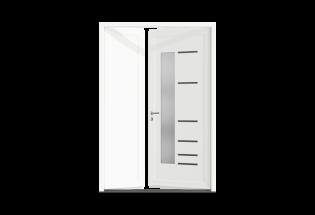 Porte d'entrée PVC 2 vantaux inégaux Apaisante