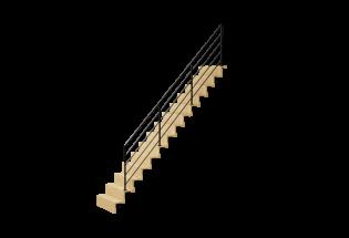 Escalier limon droit en chêne et aluminium H2730 AVENANT