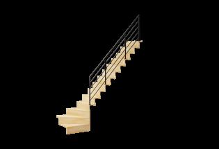 Escalier limon quart tournant en hêtre et aluminium H2730 AVENANT
