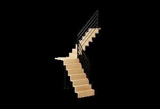 Escalier limon quart tournant avec palier en hêtre et aluminium H2740 AVENANT
