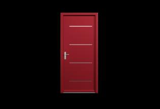Porte pavillonnaire blindée rouge pourpre L950 x H2250 HEUREUSE