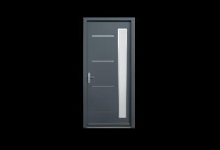 Porte pavillonnaire blindée gris anthracite L950 x H2150 HEUREUSE