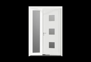 Porte d'entrée PVC 2 vantaux inégaux Avenante
