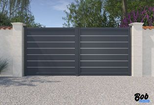 Portail battant en aluminium gris anthracite L2500 x H1217 PERSEVERANT