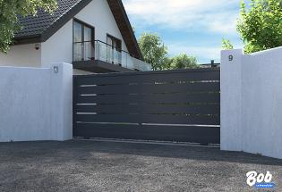 Portail coulissant en aluminium gris anthracite L2500 x H1470 HUMBLE
