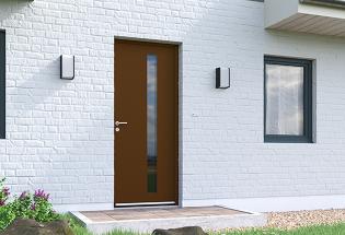 Porte d'entrée en aluminium brun sépia L1000xH2150 SOIGNEUSE