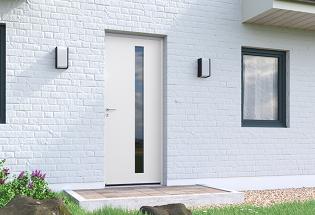 Porte d'entrée en aluminium gris clair L1050xH2200 SOIGNEUSE