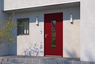Porte d'entrée en aluminium rouge pourpre L1050xH2200 STUDIEUSE