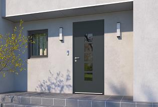 Porte d'entrée en aluminium gris sablé L1000xH2100 STUDIEUSE