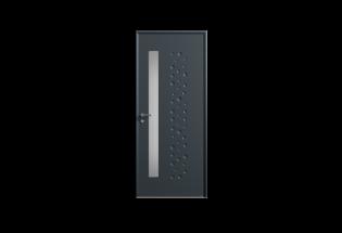 Porte d'entrée en acier gris anthracite L900xH2150 AFFECTUEUSE
